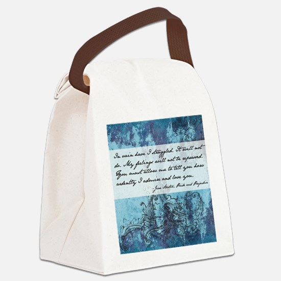 Pride and Prejudice Quote Canvas Lunch Bag