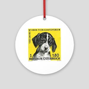 Vintage 1966 Austria Puppy Dog Post Round Ornament