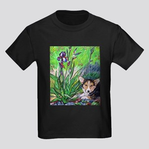 A corgi rests in Spring Kids Dark T-Shirt