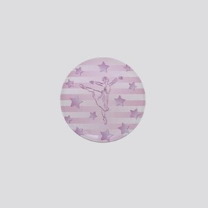 Cute pink lilac ballerina and stars Mini Button