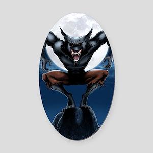 Werewolf Oval Car Magnet