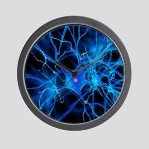 Nerve cell, artwork Wall Clock