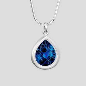 Nerve cell, artwork Silver Teardrop Necklace