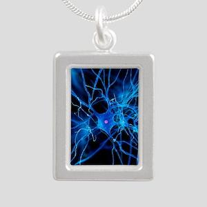 Nerve cell, artwork Silver Portrait Necklace