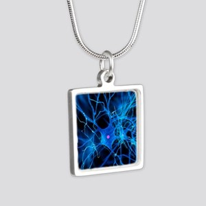 Nerve cell, artwork Silver Square Necklace