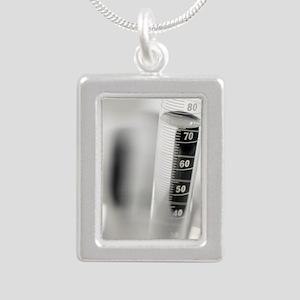 Laboratory glassware Silver Portrait Necklace