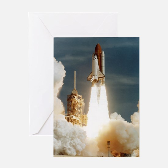 Launch of shuttle mission STS-70, Ju Greeting Card