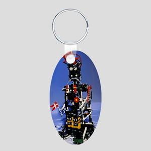 Lego humanoid robot known a Aluminum Oval Keychain