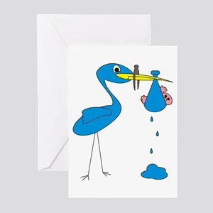 Funny Blue Stork Greeting Cards (Pk of 10)