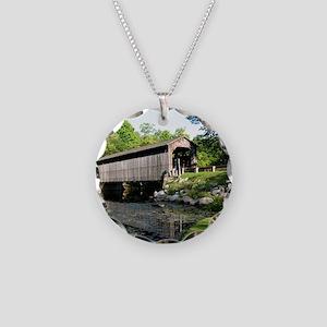 Fallasburg Covered Bridge Necklace Circle Charm