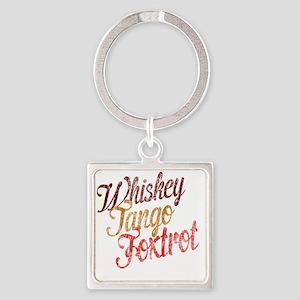 Whiskey Tango Foxtrot Vintage Desi Square Keychain