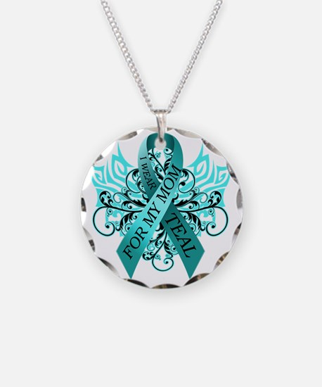 I Wear Teal for my Mom Necklace Circle Charm