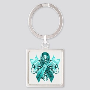 I Wear Teal for my Daughter Square Keychain