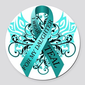 I Wear Teal for my Daughter Round Car Magnet