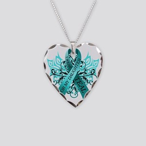 I Wear Teal for my Daughter Necklace Heart Charm