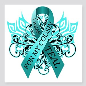 """I Wear Teal for my Cousi Square Car Magnet 3"""" x 3"""""""