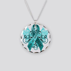 I Wear Teal for my Sister Necklace Circle Charm
