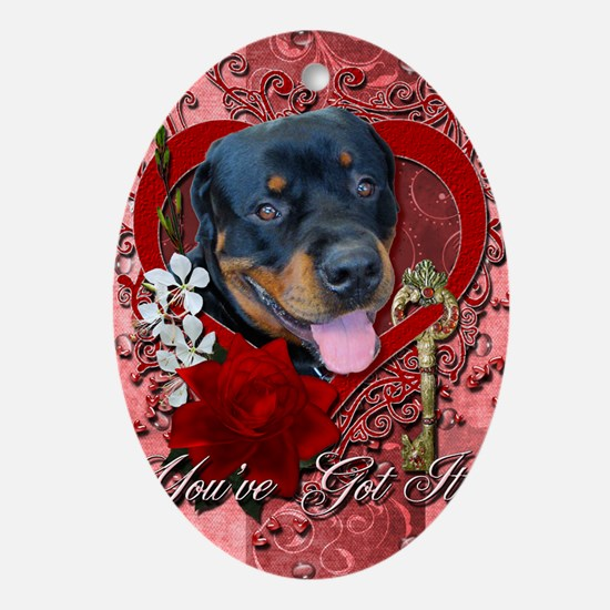 Valentines - Key to My Heart - Rotti Oval Ornament