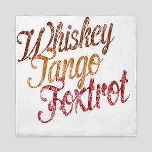 Whiskey Tango Foxtrot Vintage Aqua Queen Duvet