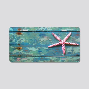 Starfish and Turquoise Aluminum License Plate