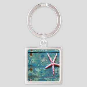 Starfish and Turquoise Square Keychain