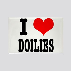 I Heart (Love) Doilies Rectangle Magnet