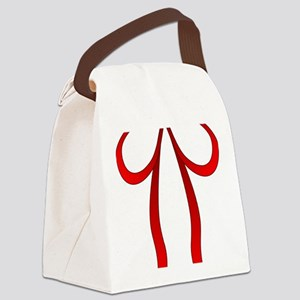 Red Ribbon Bow Tie Canvas Lunch Bag