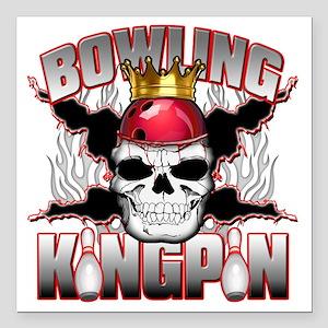 "Bowling Kingpin Square Car Magnet 3"" x 3"""