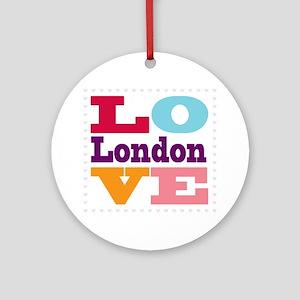 I Love London Round Ornament
