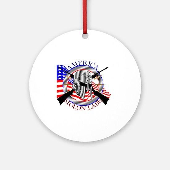 Molon Labe America 2nd Amendment Round Ornament