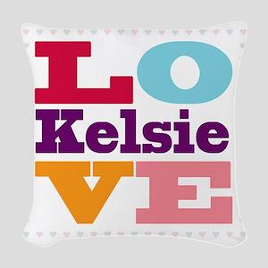 I Love Kelsie Woven Throw Pillow