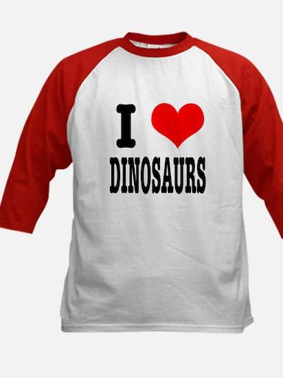 I Heart (Love) Dinosaurs Kids Baseball Jersey