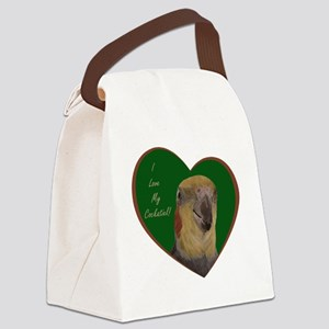 I Love My Cockatiel! Heart Canvas Lunch Bag