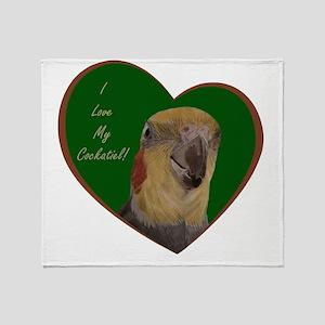 I Love My Cockatiel! Heart Throw Blanket