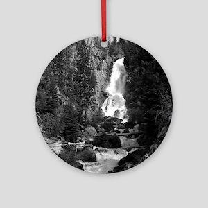 Mountain Waterfall Round Ornament