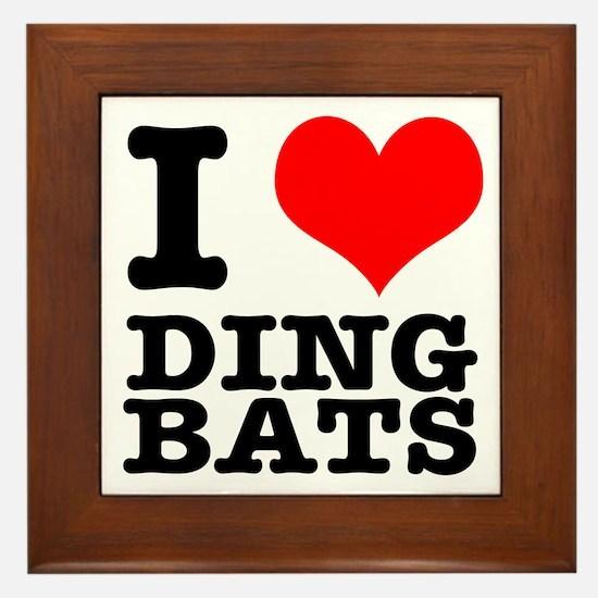 I Heart (Love) Ding Bats Framed Tile