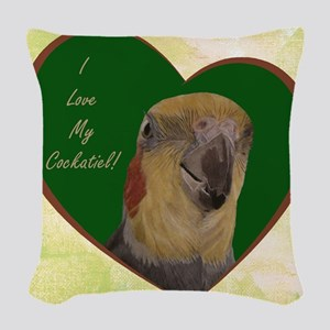 I Love My Cockatiel! Heart Woven Throw Pillow