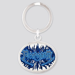 Firefighter's Flame Oval Keychain