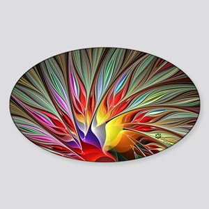 Fractal Bird of Paradise 2 Bus Card Sticker (Oval)