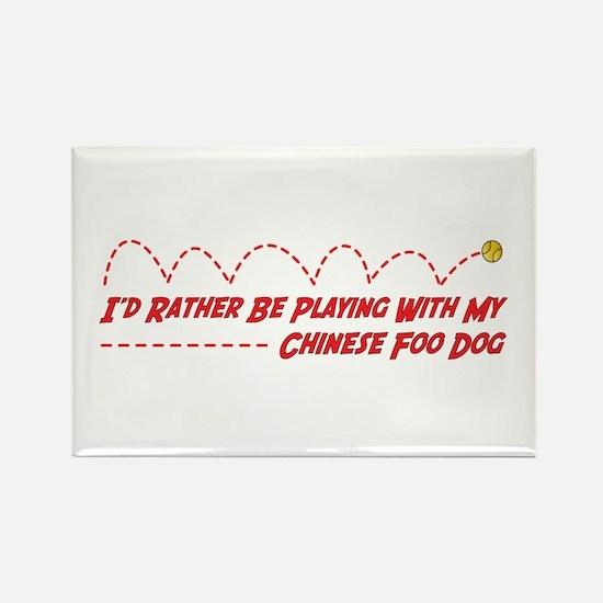 Foo Dog Play Rectangle Magnet