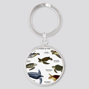 Sea Turtles of the World Round Keychain