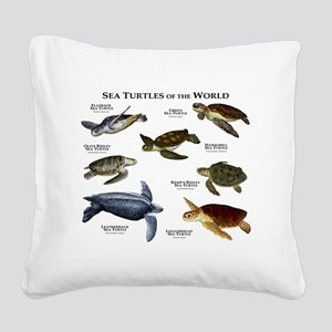 Sea Turtles of the World Square Canvas Pillow