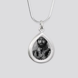 Haile Selassie I in offi Silver Teardrop Necklace
