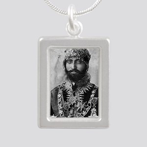 Haile Selassie I in offi Silver Portrait Necklace