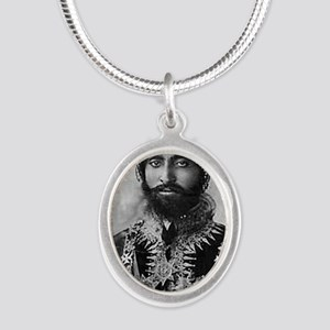 Haile Selassie I in official  Silver Oval Necklace