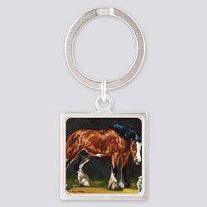 Clydesdale Horse and Cat Square Keychain