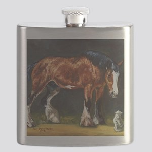 Clydesdale Horse and Cat Flask