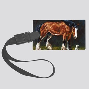 Clydesdale Horse and Cat Large Luggage Tag