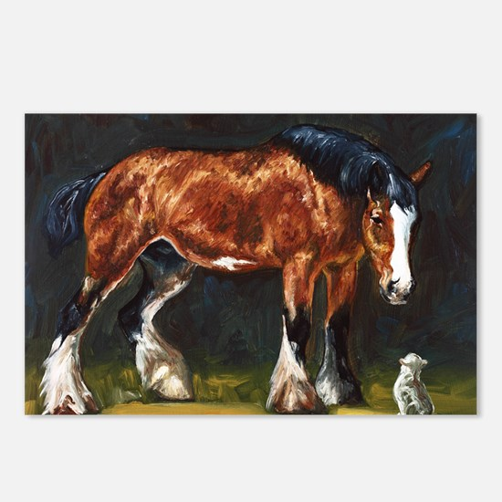 Clydesdale Horse and Cat Postcards (Package of 8)