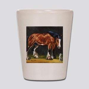 Clydesdale Horse and Cat Shot Glass